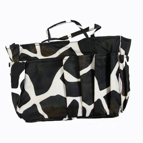 The Plaid Purse Bag Organizer  Black Giraffe Print
