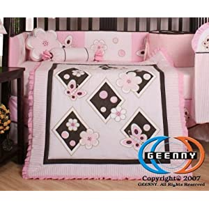 Boutique Brand New GEENNY Pink Butterfly 13PCS Baby Nursery CRIB BEDDING SET