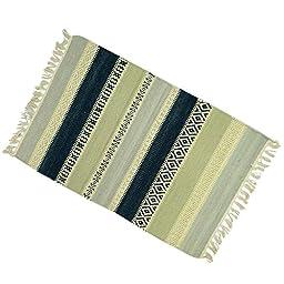 Hand Woven Jute Cotton Floor Runner Stripe Pattern Rug Rag Multicolor Carpet 35\
