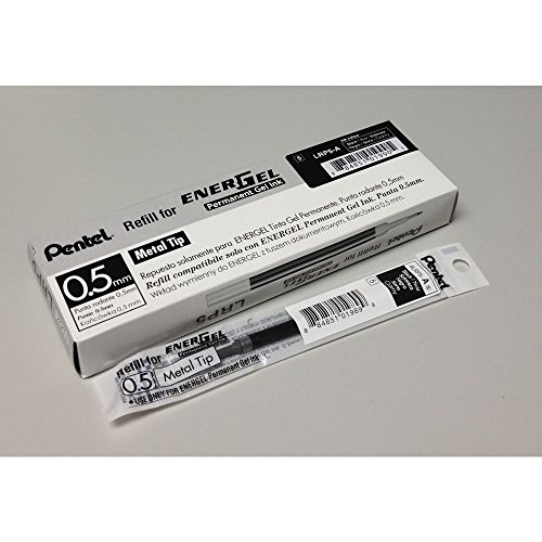 Pentel LRP5 0.5mm EnerGel Permanent Gel Pen Refill Buk Pack (12pcs) - Black Ink