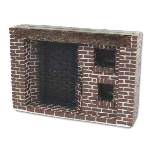 Dollhouse Miniature Rustic Brick Walk-In Fireplace