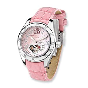 Stainless Steel Diamond Pink Automatic Watch by Charles Hubert Paris Watches, Best Quality Free Gift Box Satisfaction Guaranteed