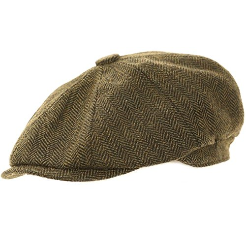 Wrapeezy Green Herringbone Newsboy 8 Panel Baker Boy Tweed Flat Cap Mens Gatsby Hat (58cm M Medium 58 cm)