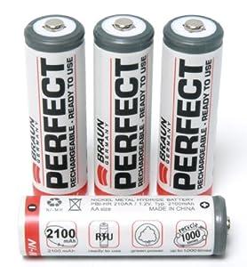 BRAUN Perfect NiMh-Akku 2100mAh AA (Mignon) mit aüßerst geringer Selbstenladung (ähnlich Sanyo eneloop) in praktischer Batteriebox - Optimal für Kamera, Blitzgeräte, Radio, Fernbedienungen für Spielekonsolen, wie z. B. Wii, Wii BalanceBoard usw. R2U, LSD