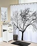 Splash Home Shower Curtain, 70 by 72-Inch, Tree Black