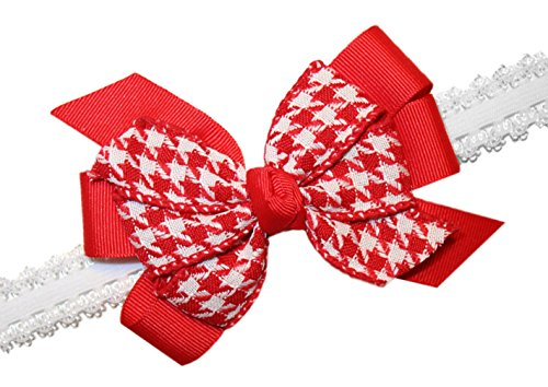 Webb Direct 2U Baby-Girls Red Houndstooth Hair Bow On Stretch Headband (5214) front-788243