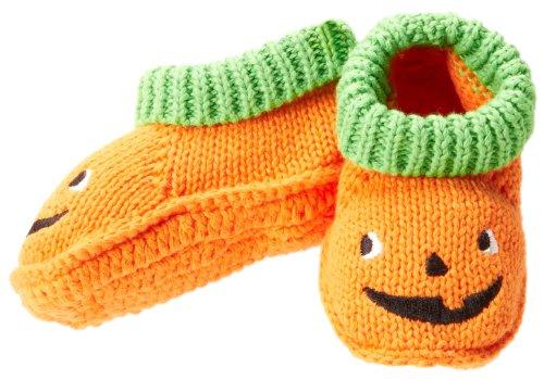 Carter'S Baby-Boys Newborn F13 Pumpkin Crocheted Booties, Orange/Green/Black, New Born front-157783