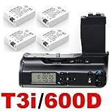 LCD Timer Battery Grip for Canon EOS 550D 600D / Rebel T2i T3i SLR Digital Camera + 4x CANON LP-E8 Batteries