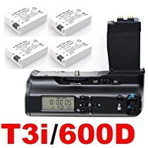 LCD Timer Battery Grip for Canon EOS 550D 600D / Rebel T2i T3i SLR Digital Camera + 4x CANON LP-E8 Batteries