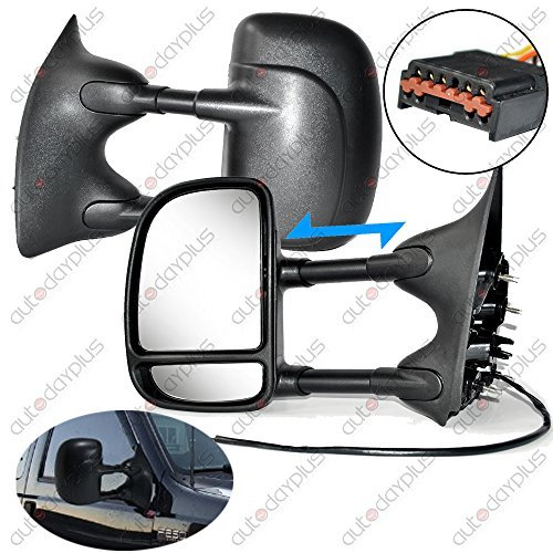 Scitoo For 99-07 Ford F250 F350 Power Heated Telescopic Black View Mirror Pair Set Left Driver Right Passenger Side 61095-96f (2003 Ford F250 Mirrors Set Tow compare prices)