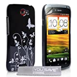HTC One S Case Black Butterfly Hard Cover With Screen Protector Filmby Yousave Accessories