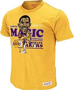 Magic Johnson Los Angeles Lakers Mitchell & Ness Caricature Premium T-Shirt by Mitchell & Ness