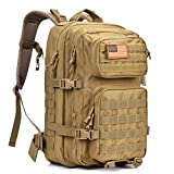 Military Tactical Backpack Large Army 3 Day Assault Pack Waterproof Molle Bug Out Bag Backpacks Rucksacks for Outdoor Hiking Camping Trekking Hunting Tan