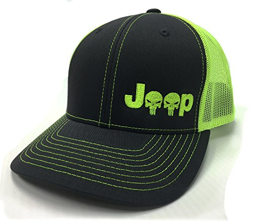 Jeeps For Sale In Md >> Jeep Logo With Punisher Skull Symbol Left Panel Embroidered Mesh/Twill Cap - Charcoal/Neon Green ...