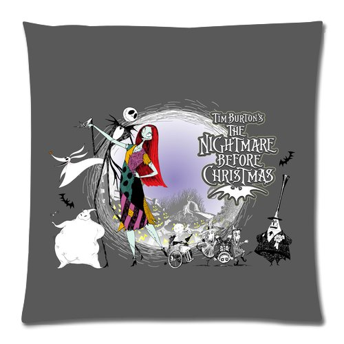 Generic Gray Color The Nightmares Before Christmas Role Cotton And Polyester Square Standard Zippered Pillowcases Case 18 By 18 Inch front-903784