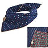 PUPTECK Pet Dog Cat Puppy Bandana Reversable Bibs Triangle Head Scarf Accessories Neckerchief for Small to Large Breed, Dark Blue