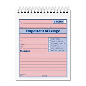 TOPS 2-Part Carbonless Phone Message Book, 4.25 x 6 Inches, Top Spiral Binding, 1 per Page, 50 Sheets, Pink and Canary, (4010)