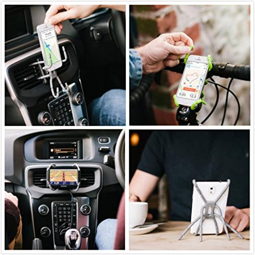 Heemepink Flexible Spider Car Phone Holder / Universal Cradle Car Mount Holder for iPhone 6 plus 5s Samsung S5 Moto G & Other Mobile Phones - White