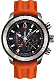 Tx T3c319 Linear Dual Time Multifunctional Two Tone Titanium Chronograph With Orange Leather Strap