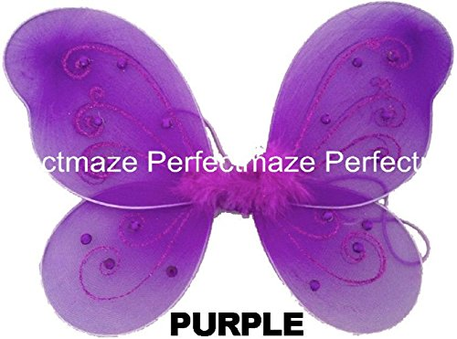 "Perfectmaze 12"" x 10"" Infant Child Fairy Princess Butterfly Wings Costume -- Purple"