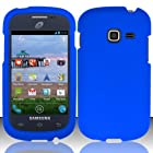 Bundle Accessory for Straight Talk Net 10 Samsung Galaxy Centura S738C - Rubberized Hard Protective Case Snap On Cover + SportDroid Transparent/Clear Decal (Blue)