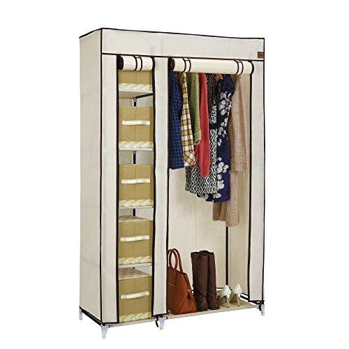 vonhaus-double-canvas-effect-wardrobe-clothes-cupboard-hanging-rail-storage-6-shelves-beige-110-x-17