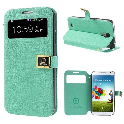 JUJEO Window View Oracle Grain Smart Leather Stand Case for Samsung Galaxy S4 i9500 i9502 i9505 - Non-Retail Packaging - Cyan