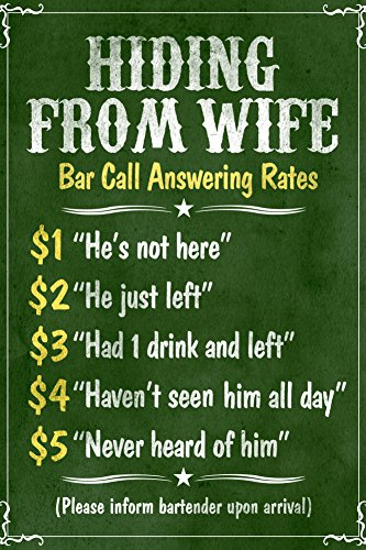 hiding-from-wife-bar-phone-fees-plastic-sign-12-x-18in