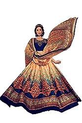 Viva N Diva Women's Beige And Blue Color Banglori Silk Printed Lehenga.