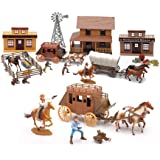 NewRay Old Western Town Deluxe Play Set with Cowboys Horses Stagecoach General Store and More Set of 3