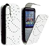 For Nokia C3-01 Luxury Bling White Diamond PU Leather Magnetic Flip Closure Case Cover Pouch By CONTINENTAL27