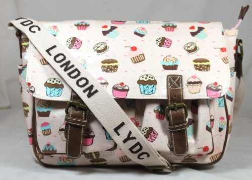 Cupcake Design Saddle Messenger Style Bag in Light Pink