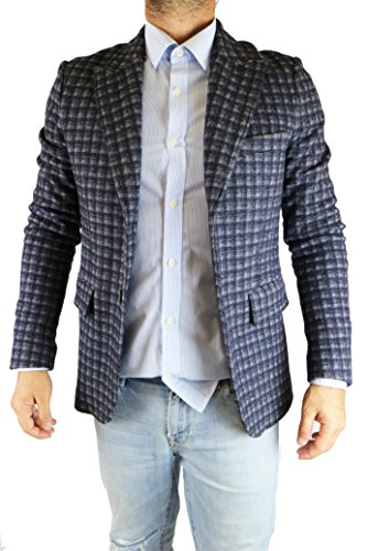 PAOLO PECORA size 50 giacca uomo blu cotone grigio lana AV885