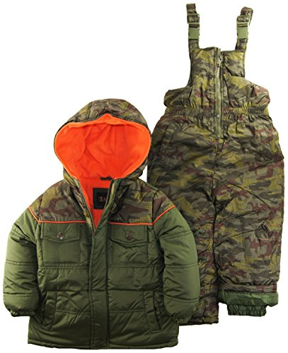 Ixtreme Little Boys 4-7 Camo Two Piece Snowsuit Set, Olive, 6 front-914655