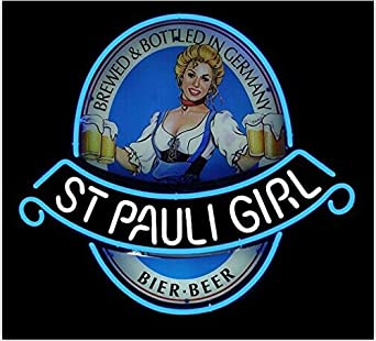 St Pauli Girl Classic Label Beer Bar Pub Handcrafted Real Glass Tube