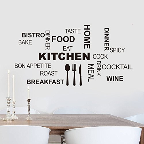 Creative Kitchen Wall Quotes Food Knife Fork Spoon Vinyl Wall Stickers Dinning Room Decoration With Transfer Film