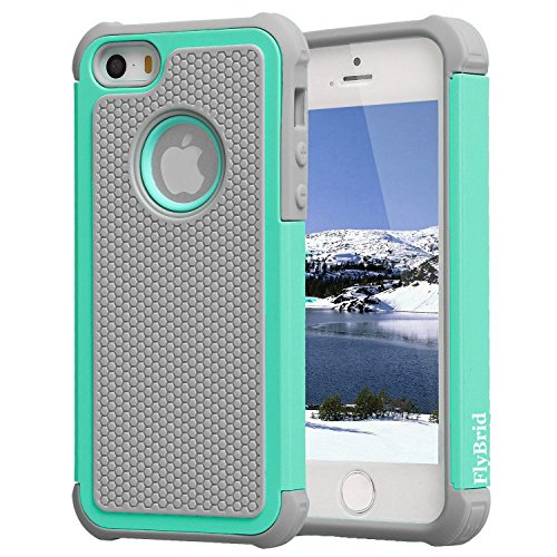 iPhone SE Case, iPhone 5/5s Case,Flybrid[drop Resistance][shockproof]soft Shock Absorption TPU Inner Sleeve & Impact-resistant Hard Plastic Case Back Cover Iphone 5,iphone 5s iphone se (Hot blue) (Iphone5 Back Repair Kit compare prices)