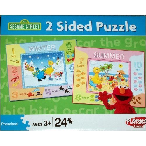 Cheap Fun Playskool Sesame Street 2 Sided Puzzle with 24 Pieces – Winter & Summer Theme – Elmo & Friends (B002G94YW8)