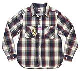 (ヒューストン)HOUSTON マチ付 長袖 チェック ヘビーネルシャツ 40108 L NAVY×WHITE(ネイビー×ホワイト系)