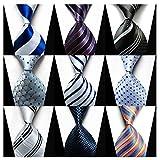 Weishang Pack of 6 Men's Classic Tie Silk Necktie Woven Jacquard Neck Ties (Set 7)