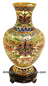 Chinese Art / Chinese Collectibles: Chinese Cloisonne Vase - Wealth Flowers