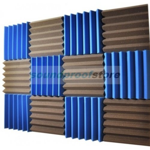 2x12x12-12-pack-blue-charcoal-acoustic-wedge-soundproofing-studio-foam-tiles