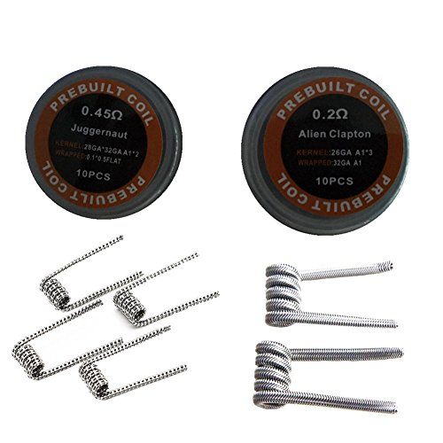 Alien + Juggernaut Wire, 1 Box Alien Wave Wire Resistance 0.2ohm and 1 Box Prebuilt Juggernaut Coil Resistance 0.45ohm Wire with 1PC MUJI Organic Cotton (2Box/Pack) (3in1 Vaporizers compare prices)