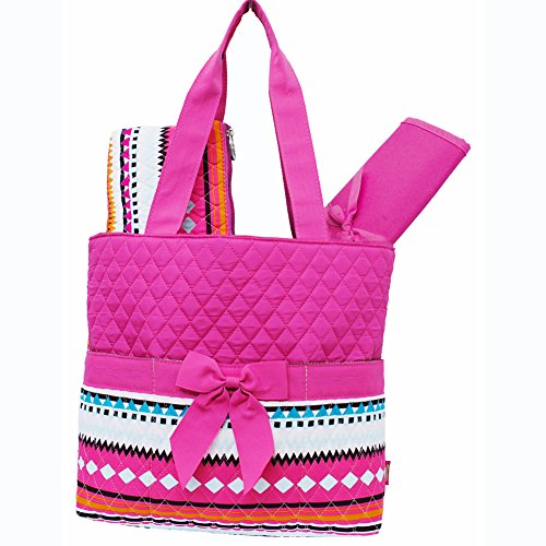Multi Color Aztec Tribal Hipster Print 3pc. Diaper Bag (Hotpink) - 1