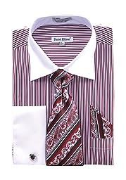 Men\'s Stripe Two Tone French Cuff Shirt Cufflinks - Burgundy 20.5 36-37