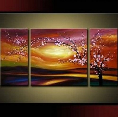 Plum Tree Blossom 100% Hand Painted Abstract Wall Canvas Art Sets Painting for Home Decoration Oil Painting Modern Art Large Canvas Wall Art Free Shipping 3 Piece Canvas Art Unstretch and No Frame