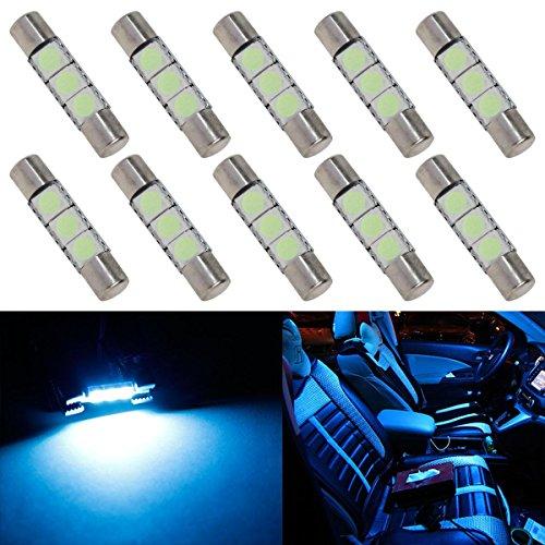 Partsam 10pcs Ice Blue 28mm 29mm Festoon 3-5050-SMD LED Bulbs for Car Interior Sun Visor Vanity Mirror Lights 6614 6641 (2007 Nissan Murano Sun Visor compare prices)