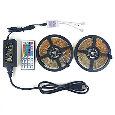 LTROP 2 Reels 12V 32.8ft Waterproof Flexible LED Strip Light Kit, Color Changing SMD3528 RGB with 600 LEDs Light Strips + 44-key IR Controller + 12V 5A Power Supply by LTROP