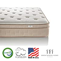 Brentwood Home Finale 10-Inch Eurotop 3-Zone Wrapped Spring Mattress, 100% Made in USA, CertiPUR, Natural Wool Layer, Beige