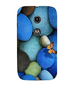 Vizagbeats Blue Color Pebbles Back Case Cover for Motorola Moto E2